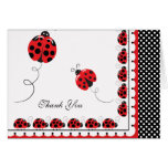 Polka Dots and Cute Ladybugs Thank You Stationery Note Card