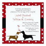 "Polka Dots and Dachshunds Wedding Invitation 5.25"" Square Invitation Card"