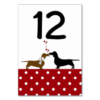 Polka Dots and Dachshunds Wedding Table Number Card