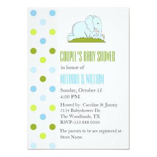 Polka Dots and Elephant Baby Shower Invitation