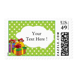 Polka dots and gift boxes- birthday postage