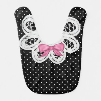 Polka Dots and Lace Special Occasion Baby Bib