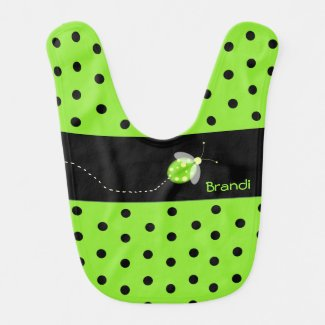 Polka Dots and Ladybug Baby Bib