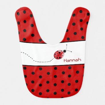 Toddler & Baby themed Polka Dots and Ladybug Custom Baby Bib