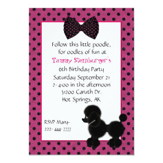 Polka Dots and Poodle Birthday Party Invitation