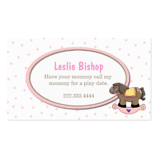 Polka Dots and Rocking Horse Girl Play Date Card Business Card Template