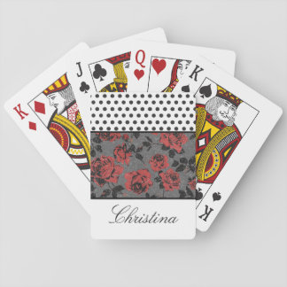 Polka Dots and Roses and White Deck Of Cards