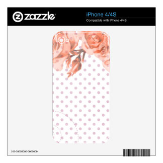 Polka Dots and Roses Skin For iPhone 4S
