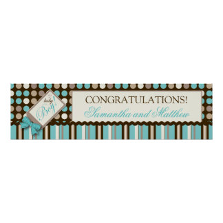 Polka Dots and Stripes Baby Shower Banner Boy Print