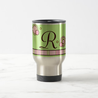 Polka Dots and Stripes Monogram Mug - Pink & Green