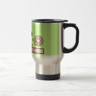 Polka Dots and Stripes Monogram Mug - Pink & Green