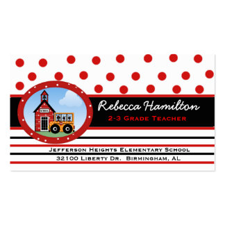 Polka Dots and Stripes Teacher's Business Card