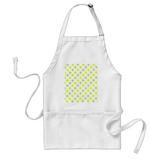 Polka Dots Apple green and yellow background Adult Apron