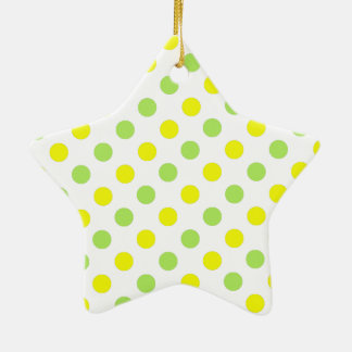 Polka Dots Apple green and yellow background Ceramic Ornament