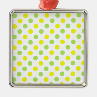 Polka Dots Apple green and yellow background Metal Ornament