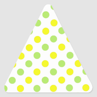 Polka Dots Apple green and yellow background Triangle Sticker