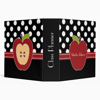 Polka Dots & Apple Teacher's Class Planner 3 Ring Binder