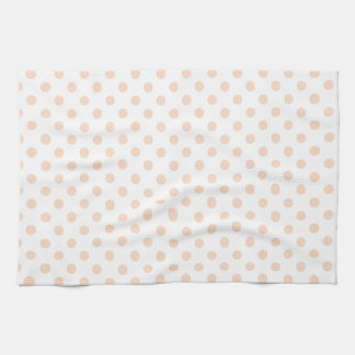 Polka Dots - Apricot on White Hand Towels