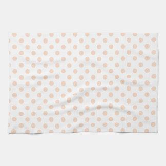 Polka Dots - Apricot on White Kitchen Towels