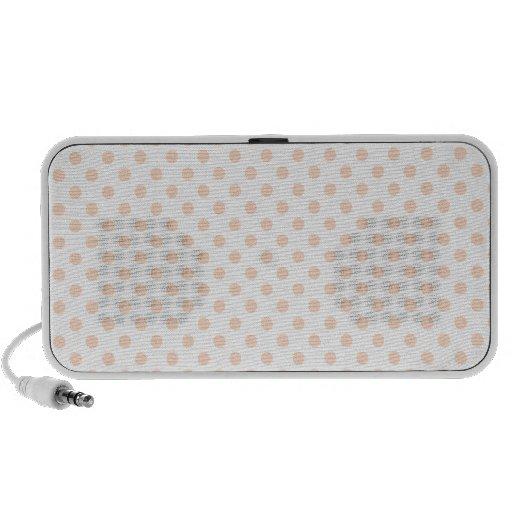 Polka Dots - Apricot on White Portable Speakers