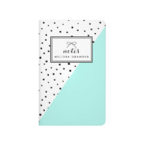 Polka Dots Aqua Abtract Pattern Personalized Notes Journal