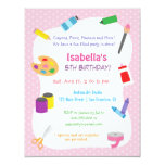 Polka Dots Arts and Crafts Kids Birthday Party 4.25x5.5 Paper Invitation Card