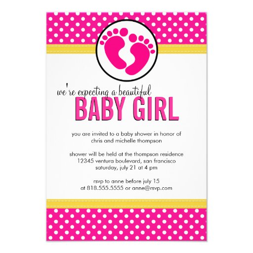 Polka Dots - Baby Girl Shower Invitation (front side)