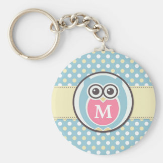 Polka Dots Baby Owl Cartoon Monogram Keychain