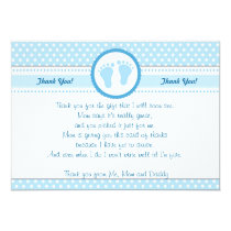 Polka Dots Baby Shower Thank You Card Blue Boy