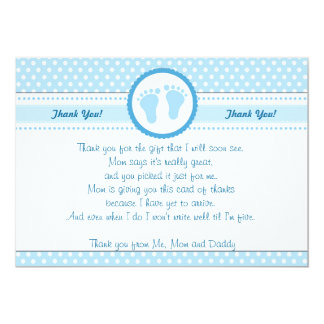 Marvelous Polka Dots Baby Shower Thank You Card Blue Boy
