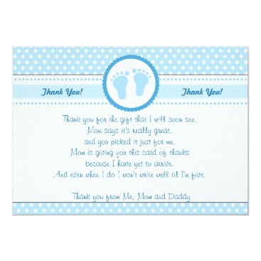 Toddler & Baby themed Polka Dots Baby Shower Thank You Card Blue Boy