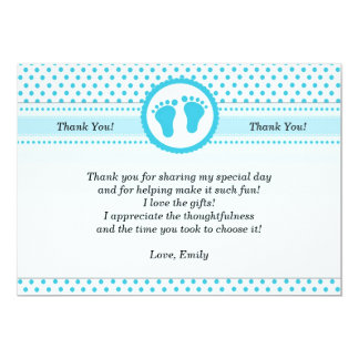 Polka Dots Baby Shower Thank You Card Unisex Aqua