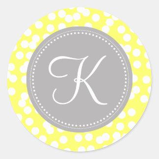 Yellow And Gray Polka Dots StickersYellow And Gray Polka Dots