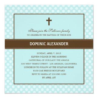 "Polka Dots Baptism/Christening Invitation 5.25"" Square Invitation Card"