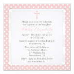 "Polka Dots Baptism Invitations 5.25"" Square Invitation Card"