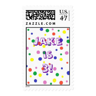 Polka Dots Birthday party stamps, name and age Postage