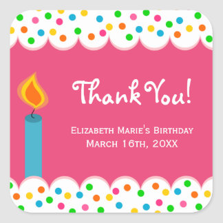 Polka Dots Birthday Thank You Party Favor Gift Square Sticker