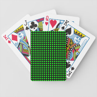 Polka Dots Black Background with Green Dots Bicycle Playing Cards