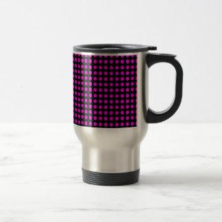 Polka Dots Black Background with Pink Dots Travel Mug