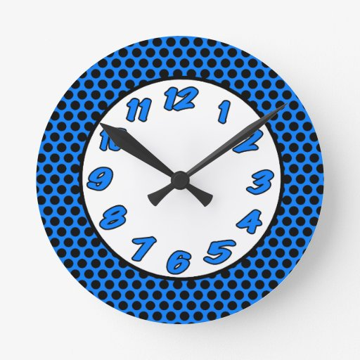 polka dots black blue round wall clock zazzle
