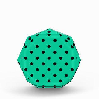 Polka Dots - Black on Caribbean Green Acrylic Award