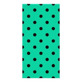 Polka Dots - Black on Caribbean Green Card