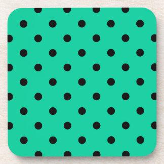 Polka Dots - Black on Caribbean Green Drink Coaster
