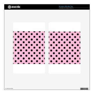 Polka Dots - Black on Cotton Candy Skins For Kindle Fire