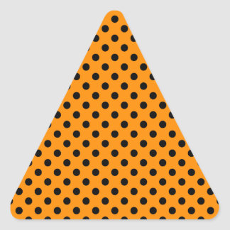 Polka Dots - Black on Dark Orange Triangle Sticker