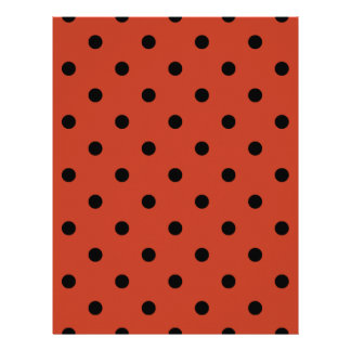 Polka Dots - Black on Dark Pastel Red Letterhead