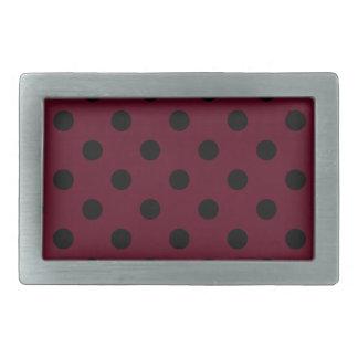 Polka Dots - Black on Dark Scarlet Rectangular Belt Buckle