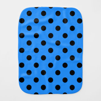 Polka Dots - Black on Dodger Blue Burp Cloth