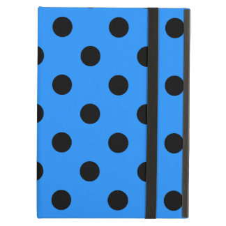 Polka Dots - Black on Dodger Blue Case For iPad Air
