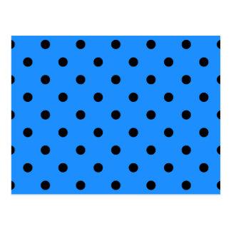 Polka Dots - Black on Dodger Blue Postcard